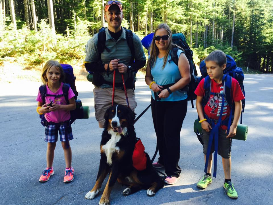 Bernese Mountain Dog Backpacking